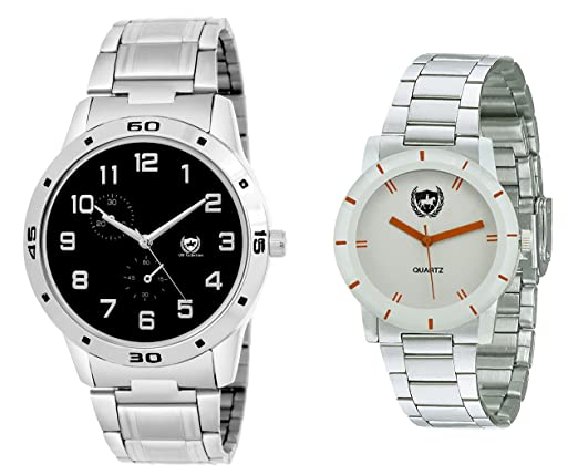 Analog Exclusive Black and White Dial Couple Watch Combo-omwk-103