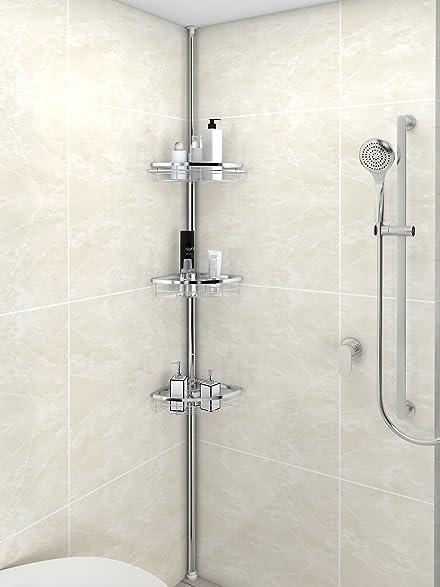 lifewit corner shower caddy 3 tier adjustable bathroom constant tension corner pole caddy free standing shower
