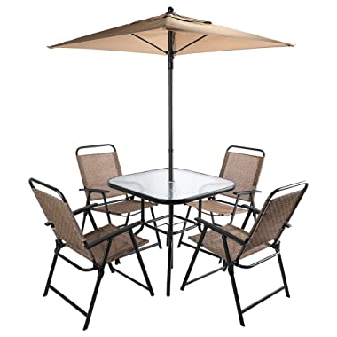 CO-Z 6 Pieces Outdoor Folding Patio Dining Set with Table, 4 Chairs, Umbrella & Built-In Base