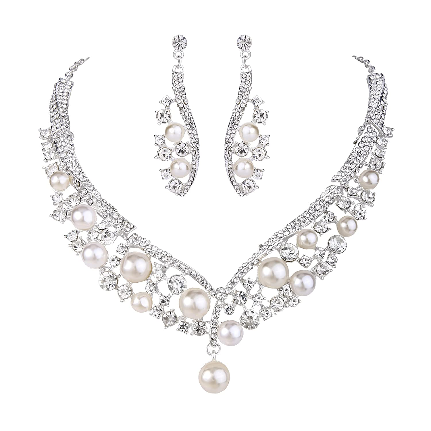 BriLove Women's Wedding Bridal Crystal Cream Simulated Pearl Cluster Beaded Statement Necklace Dangle Earrings Set Ivory Sliver Tone 12001776-1ca