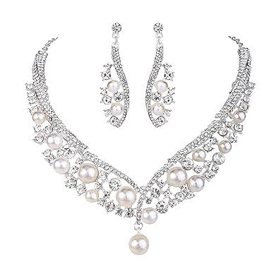 TENYE Austrian Crystal Cream Simulated Pearl Elegant Bridal Necklace Earrings Bracelet Set Clear Silver-Tone 0nh27Y6s2