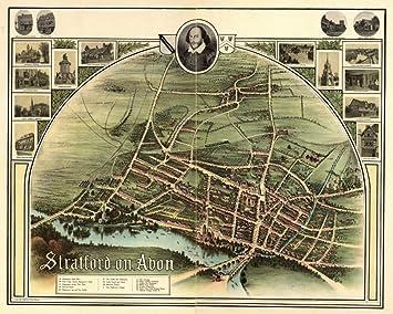 Amazoncom 1908 map of England StratforduponAvon Stratford on