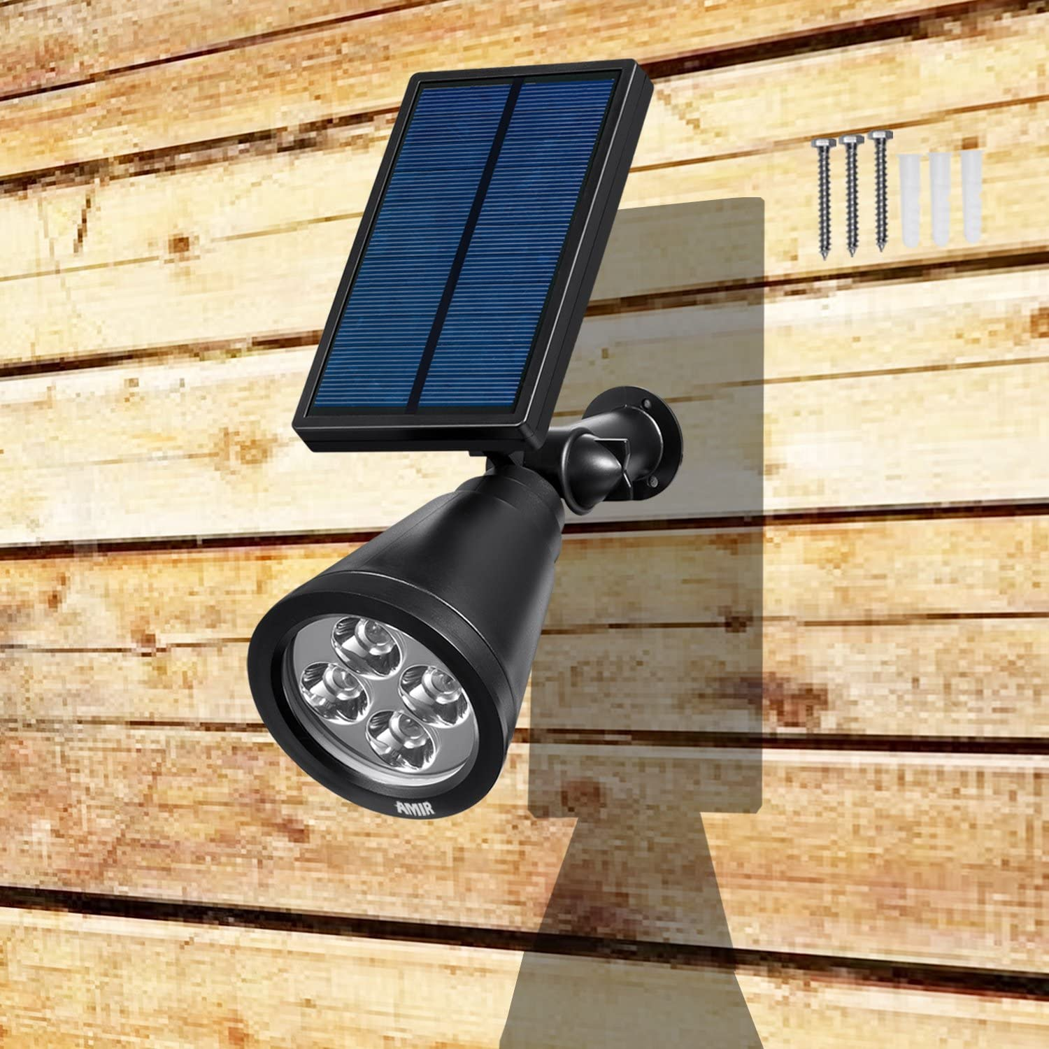 Waterproof 4 LED Solar Security Landscape Lights Adjustable Solar Garden Light with Auto On// Off for Yard Driveway Pathway Pool Patio AMIR Solar Spotlights Outdoor Upgraded Green