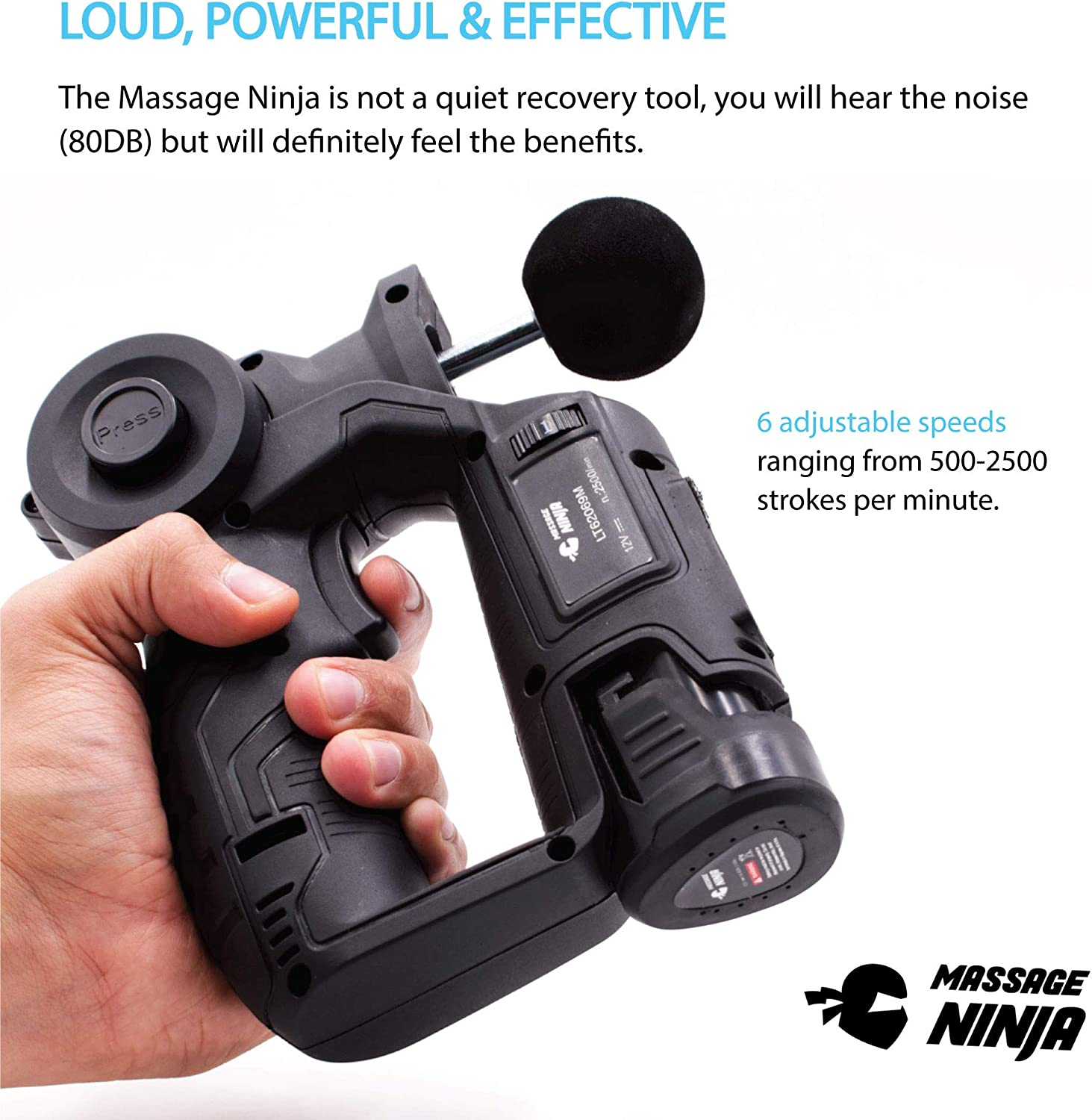 Shogun Sports Massage Ninja. Handheld Percussion Massager for Pain Relief and Improved Range of Motion. Fully Adjustable Massage Gun with 4 ...