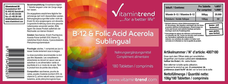 Vitamina B12 & Ácido Fólico (vitamina B9) sublingual con acerola -Bote para ¡6 MESES! - 180 tabletas - sin estearato de magnesio - sistema inmune, ...