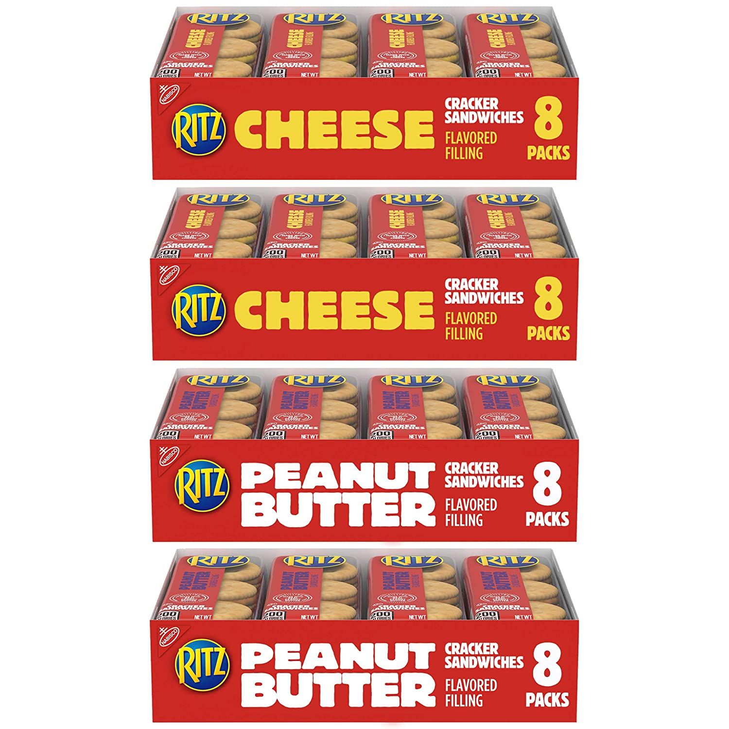 NabiscoPeanut Butter Sandwich Crackers and Cheese Sandwich Crackers Variety Pack, 32 Snack Packs