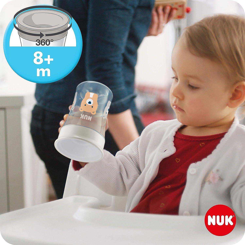 /& Action Cup Trinkbecher Kinder Herz 8+ M | 230 ml | Magic Cup 360/° Becher neutral 6+ Monate 12+ M BPA-frei NUK 3-in-1 Trinklernset mit Trainer Cup Trinklernbecher