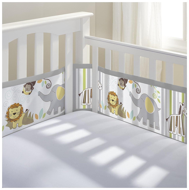 Bumper for crib for sale - Breathablebaby Breathable Mesh Crib Liner Safari Fun