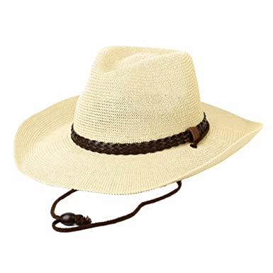 401a21e84f9 WITHMOONS Western Cowboy Hat Cool Paper Straw Banded Chin Strap CRC1054  (Ivory)