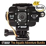 WASPcam 4K 9907 Action-Sports Camera, Black (The Aquatic Adventure Bundle)