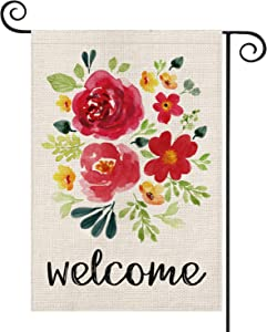 AVOIN Welcome Watercolor Flower Rose Garden Flag Double Sided, Summer Spring Leaves Yard Outdoor Decoration 12.5 x 18 Inch