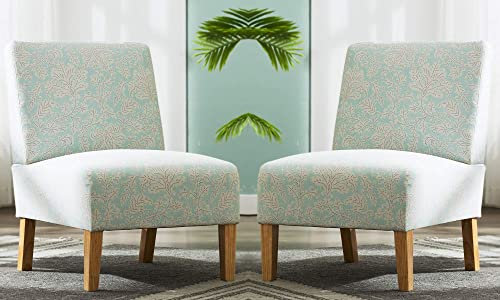 Set of 2 Accent Chair with Modern Fabric and Natural Wooden Legs for Living Room, Bedroom etc