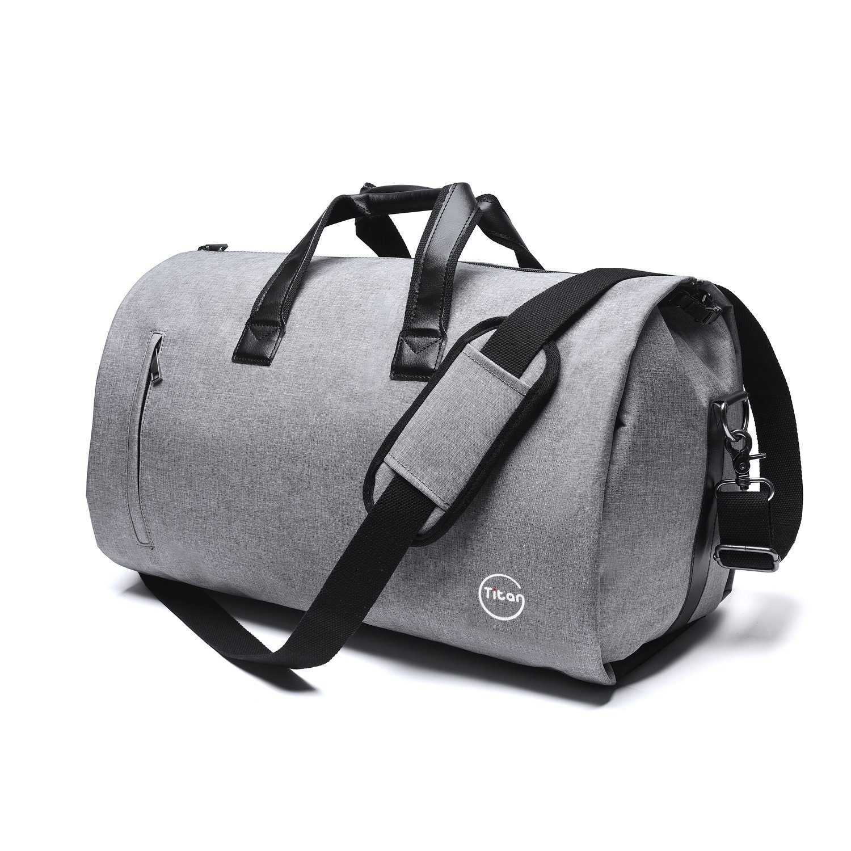 Pretigo Garment Bag for Travel Suit Bag Duffle for Men Weekender Handbag with Shoe Compartmen Grey