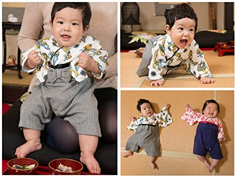 eaa4c6c1b Amazon.com  FUN fun Baby Boys  Japanese Kimono Rompers Hakama ...