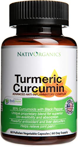 Organic Turmeric Curcumin Supplement 100 Vegan Organic Turmeric Capsules with Black Pepper Plus Ginger, Amla Goji for Max Absorption – Highest Potency 95 Curcumoids – 60 Caps