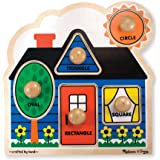 Melissa & Doug First Shapes Jumbo Knob Puzzle (Colorful Artwork, Extra-Thick Wooden Construction, 5 Pieces, 15.5″ H × 11.2″ W × 1.6″ L)