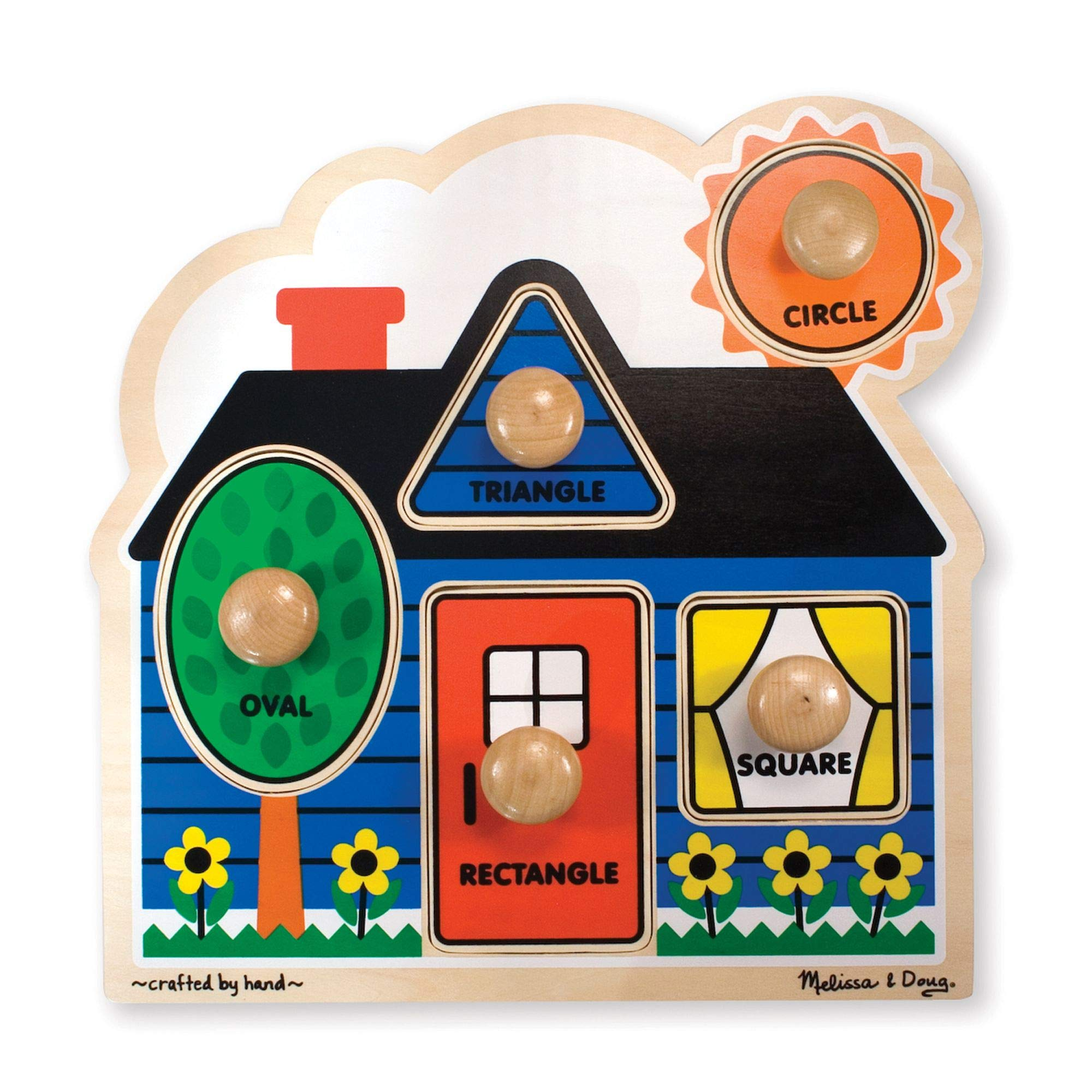 Melissa & Doug First Shapes Jumbo Knob Puzzle, Colorful Artwork, Extra-Thick Wooden Construction, 5 Pieces, 15.5″ H × 11.2″ W × 1.6″ L