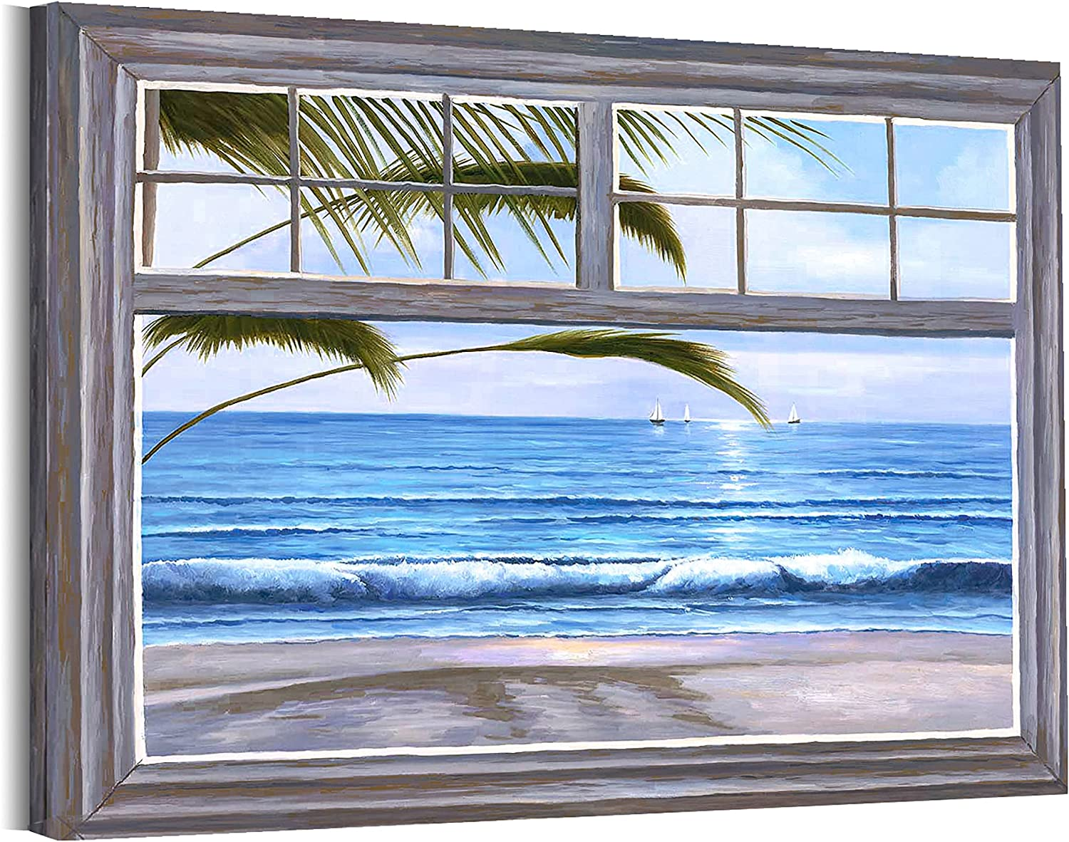 Beach Decor for Bathroom Wall Decorations 12x16inches with Frame Dark Brown Window Wall Art Blue Ocean with Sailboat Prints Wall Picture Bedroom Coastal Canvas Artwork Green Leaf Living Room Decor Painting