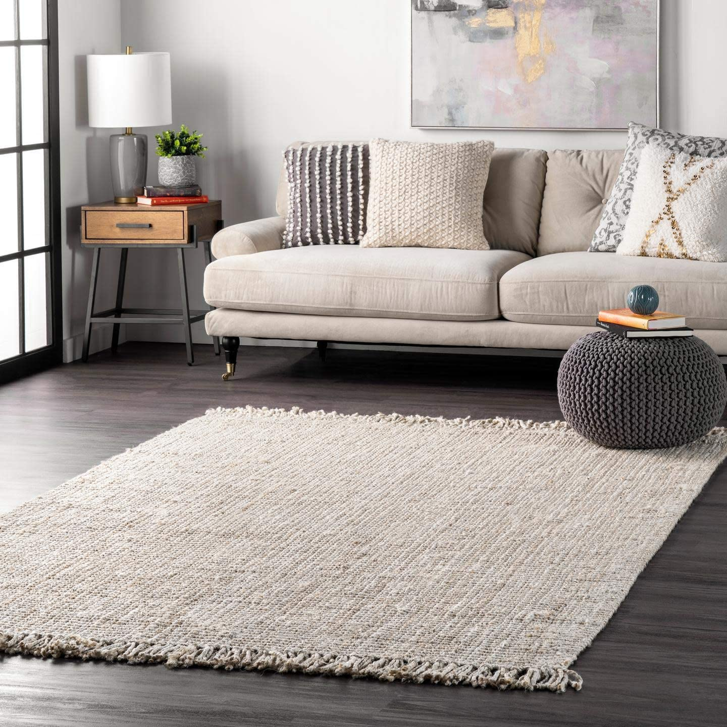 nuLOOM Natura Collection Chunky Loop Jute Area Rug