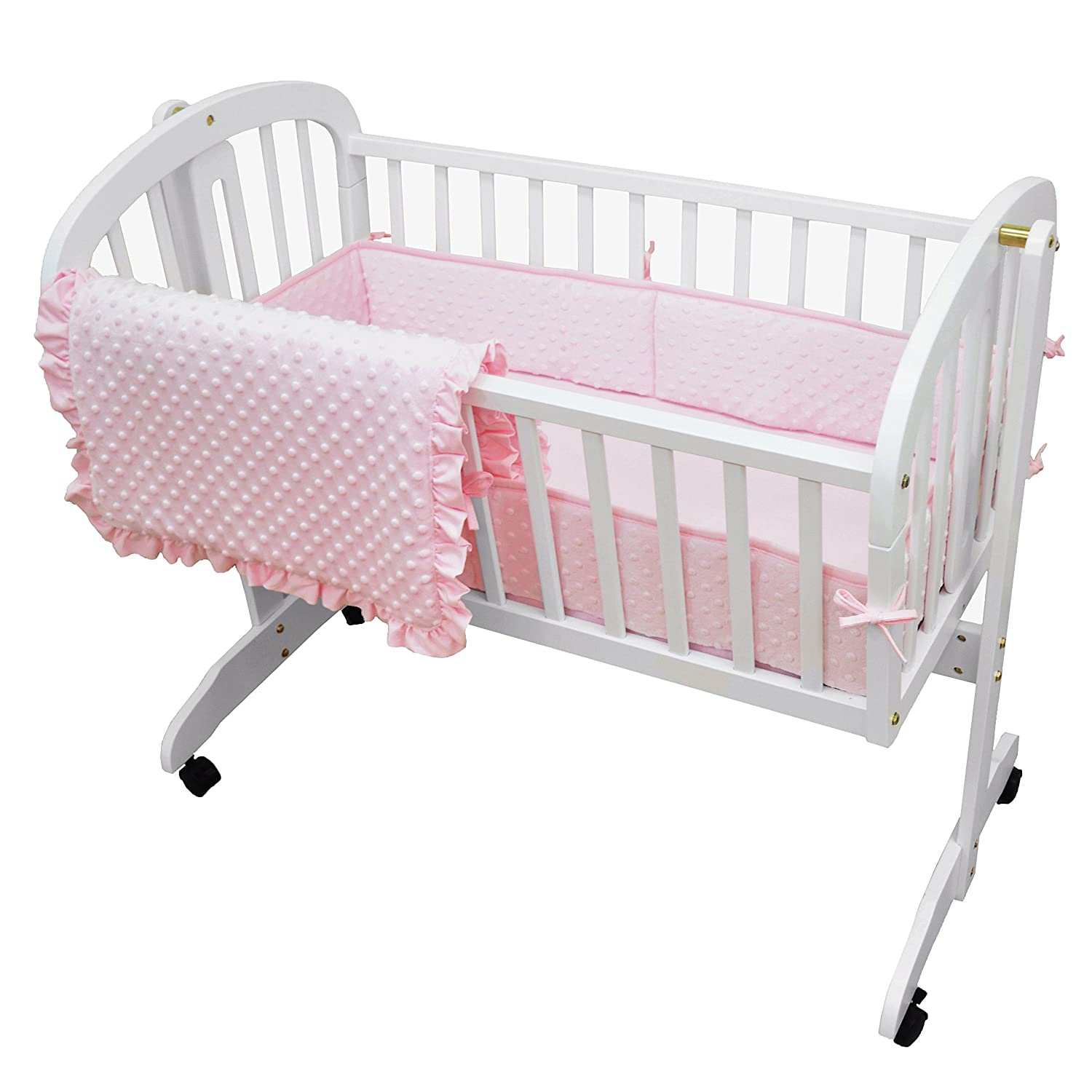 TL Care Heavenly Soft Minky Dot 3 Piece Cradle Set, Pink 1520SS-PK