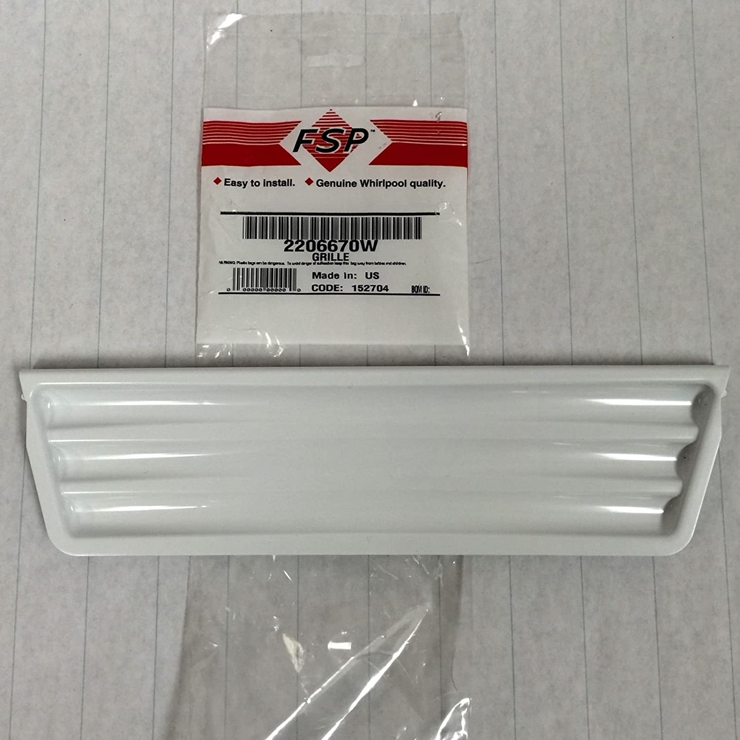 2206670W Genuine OEM Whirlpool Refrigerator White Drip Dispenser Overflow Grille