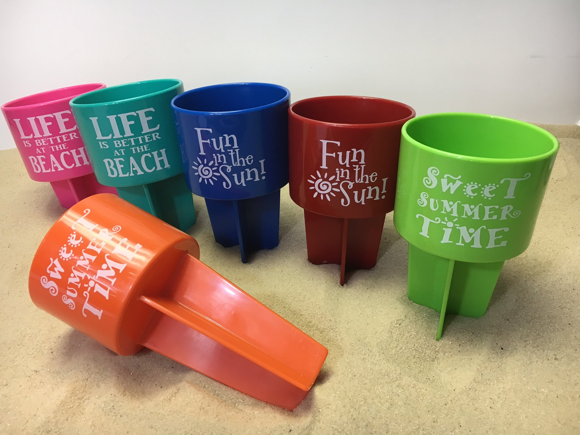 SPIKER Lifestyle Holder 6 pack assortment: 2 Life is Better at the Beach, 2 Fun in the Sun, 2 Sweet Summer Time (share with Family & Friends)