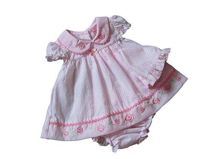 Prematuro Niña Rosa de Lunares Vestido de rosas Knickers prematuro Rosa rosa