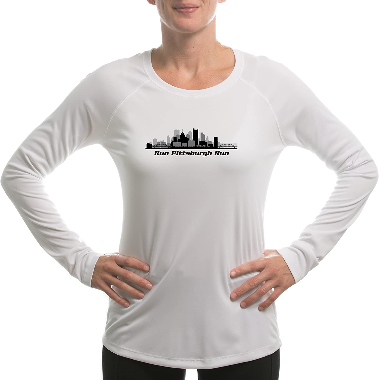 Split Time Womens Run Pittsburgh UPF Long Sleeve Running T-Shirt XX-Large White