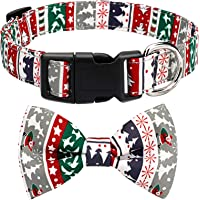 HAOPINSH Christmas Bow Tie Dog Collar, Adjustable Dog Cat Collar with Bells and Bow Tie Durable Buckle Light Collar for…