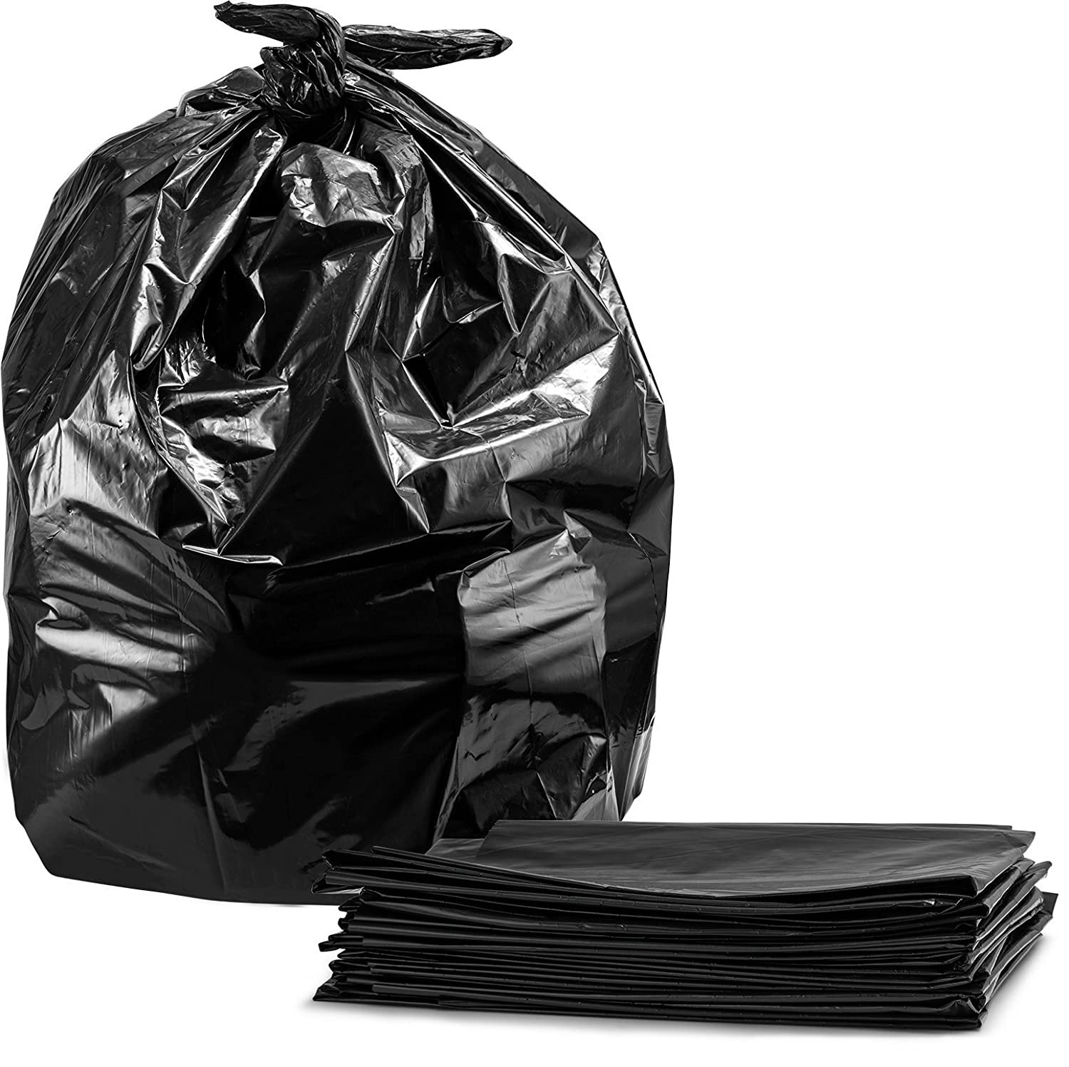 Trash Bags, For 55 Gallon, Large Heavy Duty Garbage Bags, 50/Case, Black Tasker T5050-50
