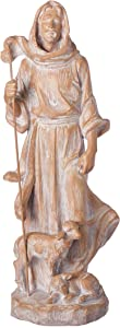 """Joseph's Studio by Roman - Jesus The Good Shepherd Statue, Carved Finish, Religious Garden Collection, 18.75"""" H, Resin and Stone, Garden Decoration, Collection, Durable, Long Lasting"""