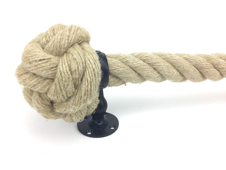 RopeServices UK Rampe d/'escalier en corde de chanvre naturel 32 mm x 3,7 m avec 4 attaches noires poudr/ées