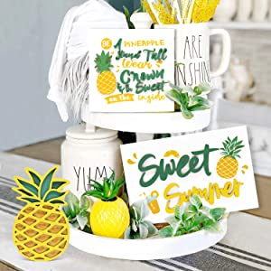 Huray Rayho Pineapple Tiered Tray Decor Summer Party Decor Farmhouse Rustic Wood Sign Sweet Summer Shelf Standing Wood Sign Inspiring Pineapple Home Decor Rae Dunn Decor Summer Pineapple Sign Set of 3
