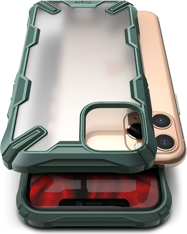Ringke Fusion-X Matte Compatible with iPhone 11 Pro Case, Anti Glare Fingerprint Resistant Translucent Case - Dark Green