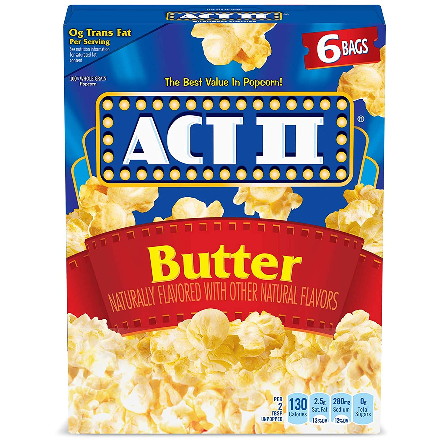 ACT II Butter Microwave Popcorn, 6-Count 2.75-oz. Bags (Pack of 6)