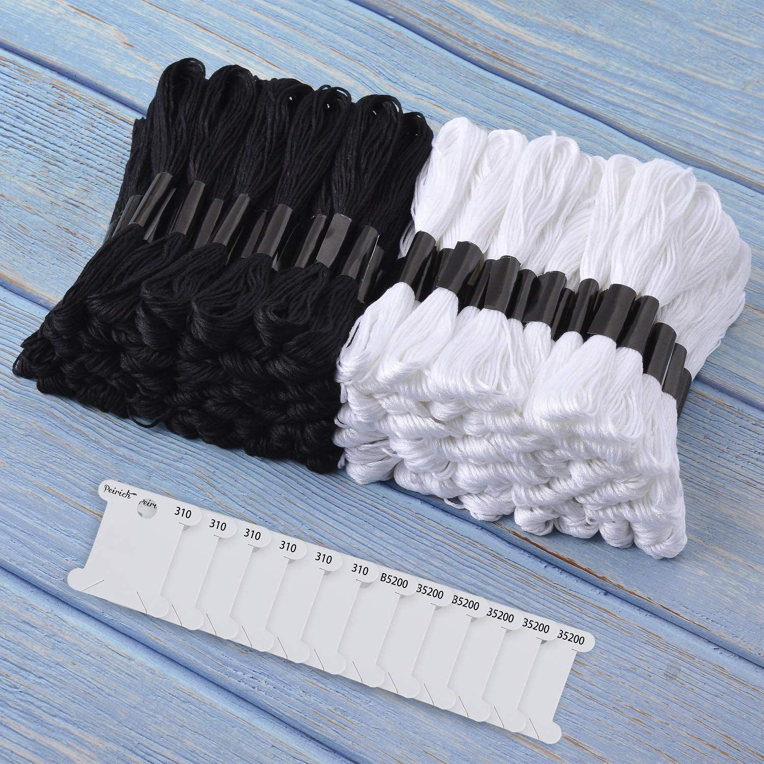 Cross Stitch Project Peirich 96 Black White Skeins Stranded Cross Stitch Floss Friendship Bracelets String Embroidery Thread with 12 Pieces Floss Bobbins