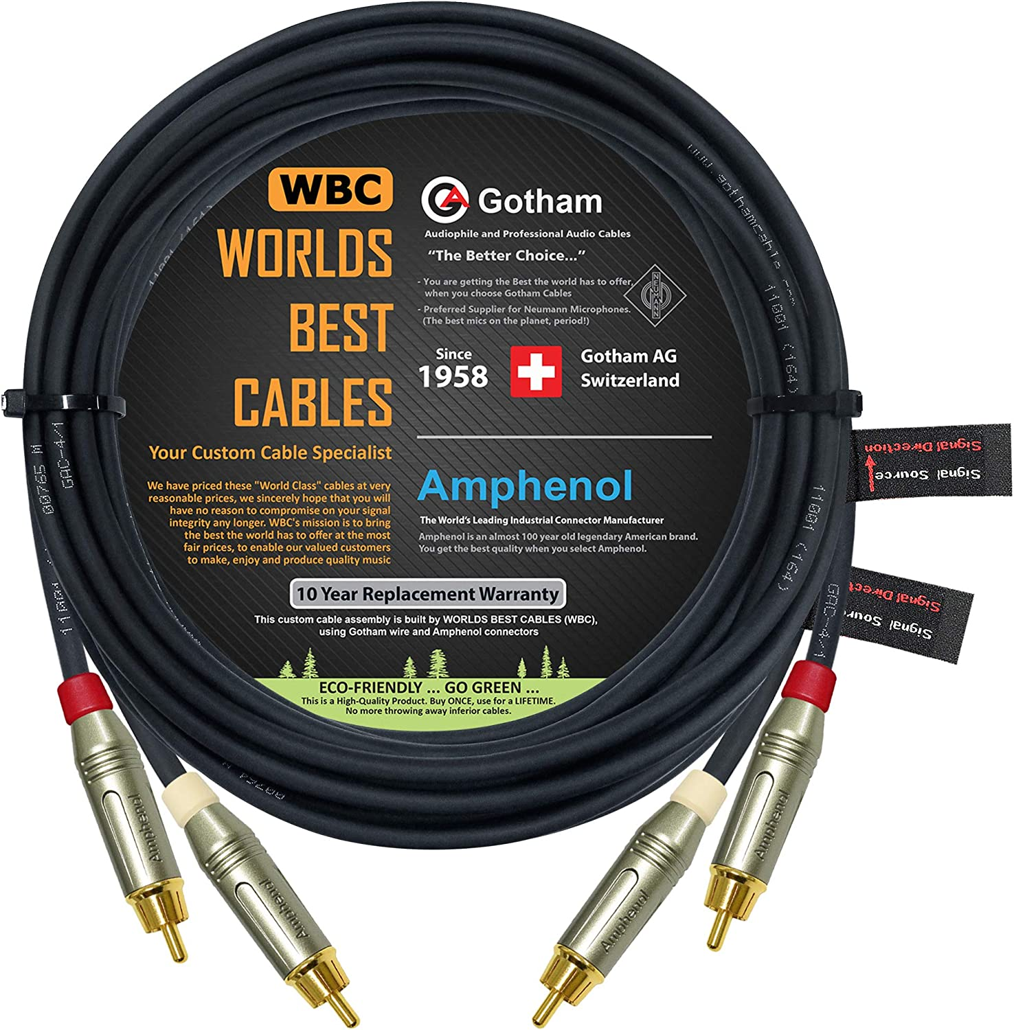 Gotham GAC-4//1 Gold Plated RCA Connectors 2 Foot RCA Cable Pair Star-Quad Audio Interconnect Cable with Amphenol ACPR Die-Cast Black Directional