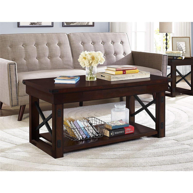 Amazon Com Ameriwood Home Wildwood Wood Veneer Coffee Table
