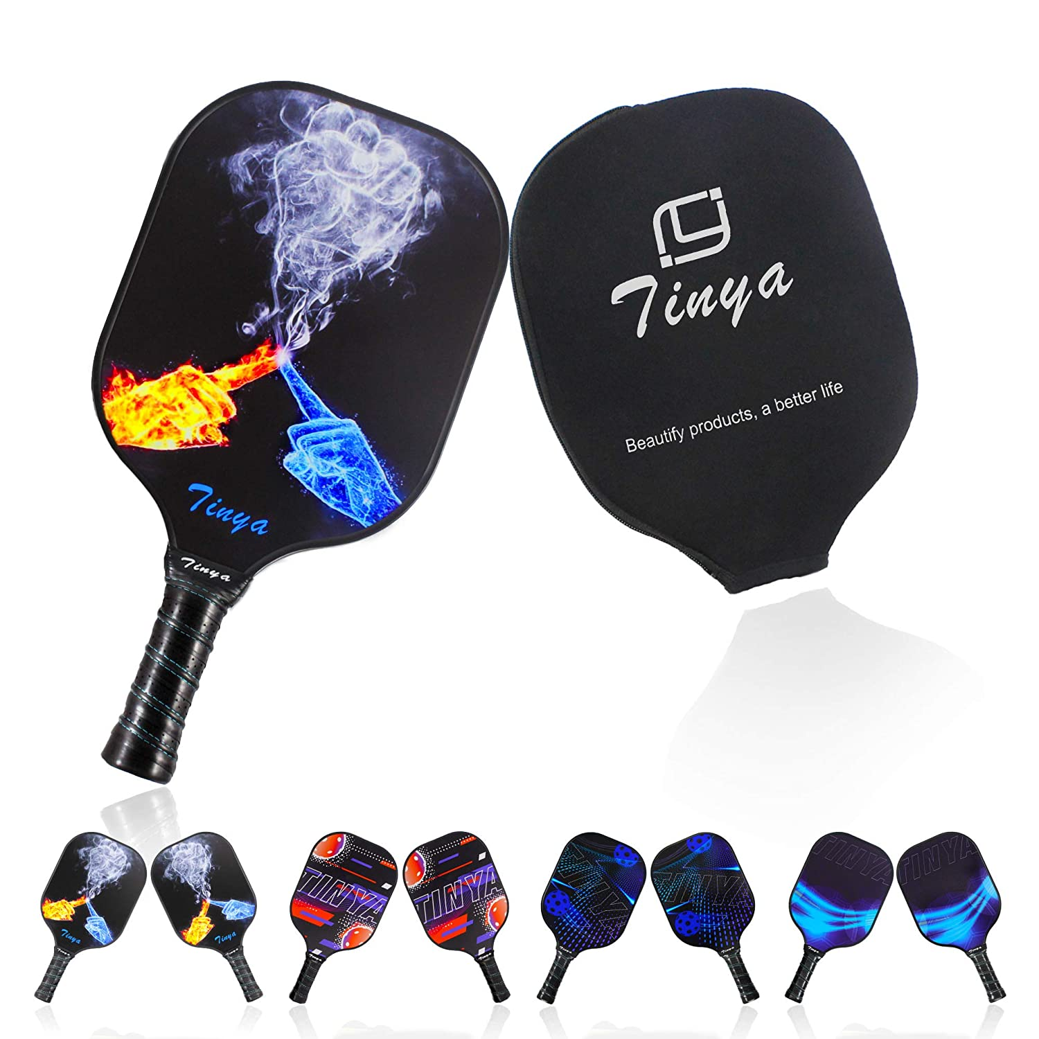 Tinya Graphite Pickleball Paddle Set: 7.6 Oz Black Pop Carbon Fiber Cool Graphic Best 3K Composite Large Lightweight Top Long Grip Professional Power ...