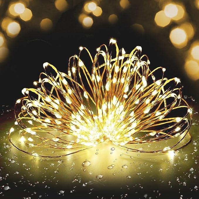 Guirlande Lumineuse à LED Fivanus 300 Leds Lumineux Cuivre Fil 30 Mètres Corde Etoile Lumineuse Chaîne Lumière Décoration Chambre Extérieur et Intérieur Etanche Eclairage Ambre