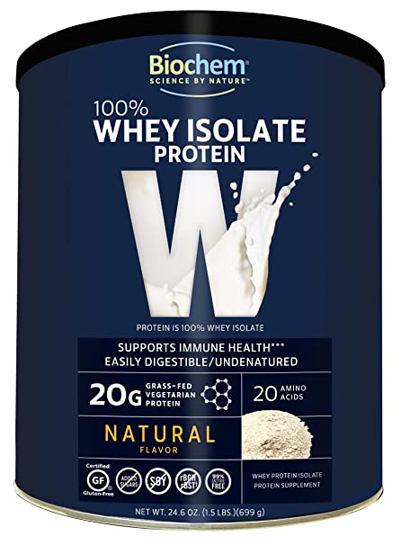 Gluten Free, BioChem, 100% Whey Protein Powder, Natural Flavour, 24.6 oz