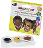 Snazaroo Leopard and Lion Face Paint Theme Pack -  3 x 2 ml, Black, Electric Gold, Light Brown