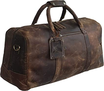 Bag Leather Duffel Travel Men Luggage Gym Vintage Genuine Weekend Overnight New/""