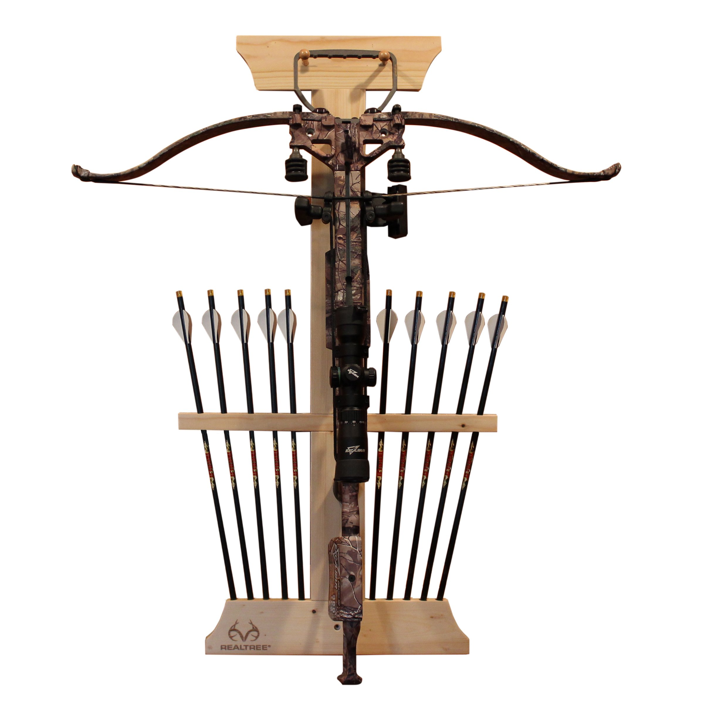 Rush Creek Creations Real tree Crossbow and 10 Arrow Bow Rack - 4 Minute Assembly - Extra Large Pegs