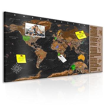 weltkarte zum rubbeln murando   Design Rubbelweltkarte Pinnwand   90x45 cm – Schwarz  weltkarte zum rubbeln