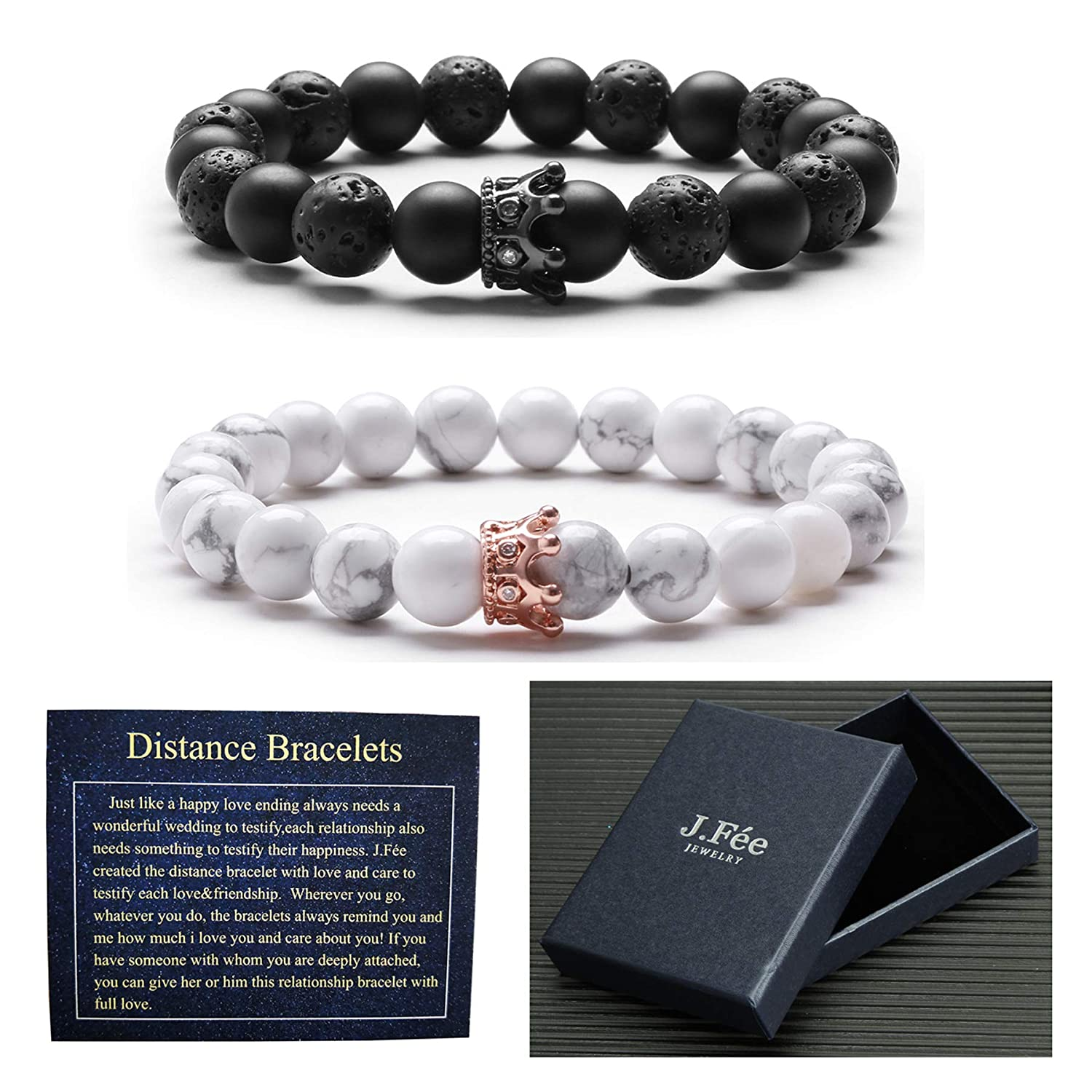 J.Fée Distance Bracelet CZ Crown Queen Friendship Relationship Couples His-and-Hers Bracelet Matte Black Onyx White Howlite J.Fée FINE JEWELLERY