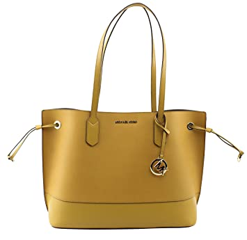52148586fee4 Amazon.com: MICHAEL Michael Kors Women's Trista Large Drawstring Carryall Leather  Tote Bag & 1 Clutch in Marigold, Style 35H8GT7T9U