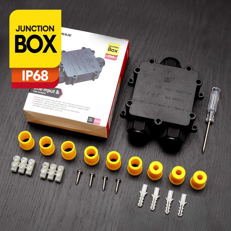 SAMHUE Junction Box IP68 Conectores de cable a prueba de agua de 3 vías Caja de conexiones eléctrica exterior/externa Ø 4mm-14mm
