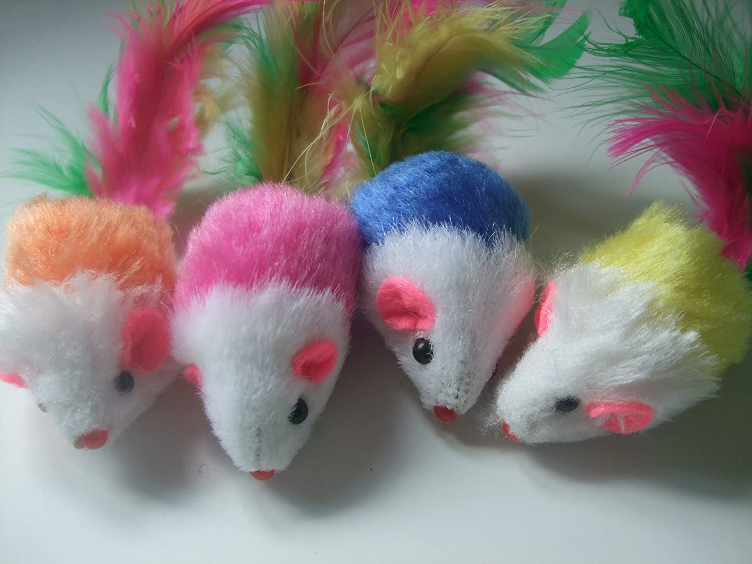 4 Cat toy mice furry fur feather tail rattle kitten mouse cats