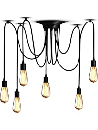 Pendant light fixtures amazon lighting ceiling fans veesee 6 arms industrial ceiling spider lamp fixture home diy e26 edison bulb chandelier lighting aloadofball Choice Image
